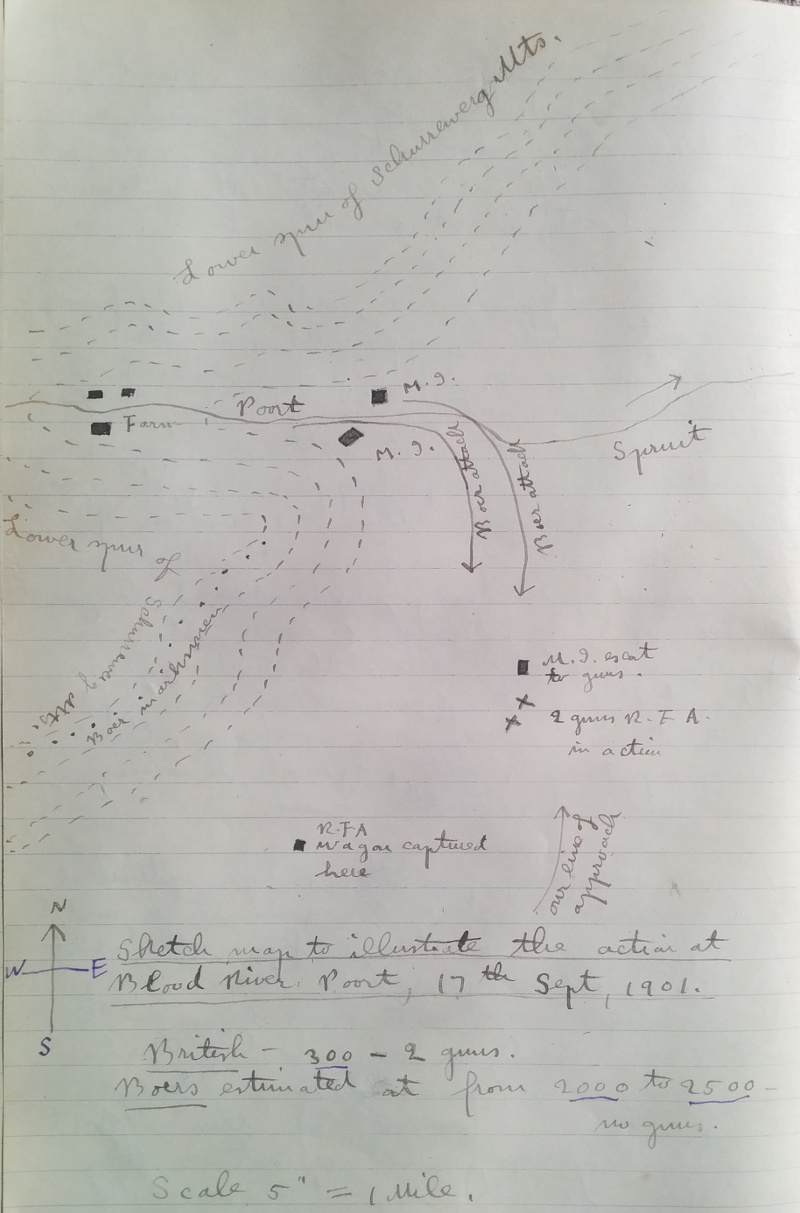 Sketch map to illustrate the action at Blood River Poort, 17th Sept, 1901.